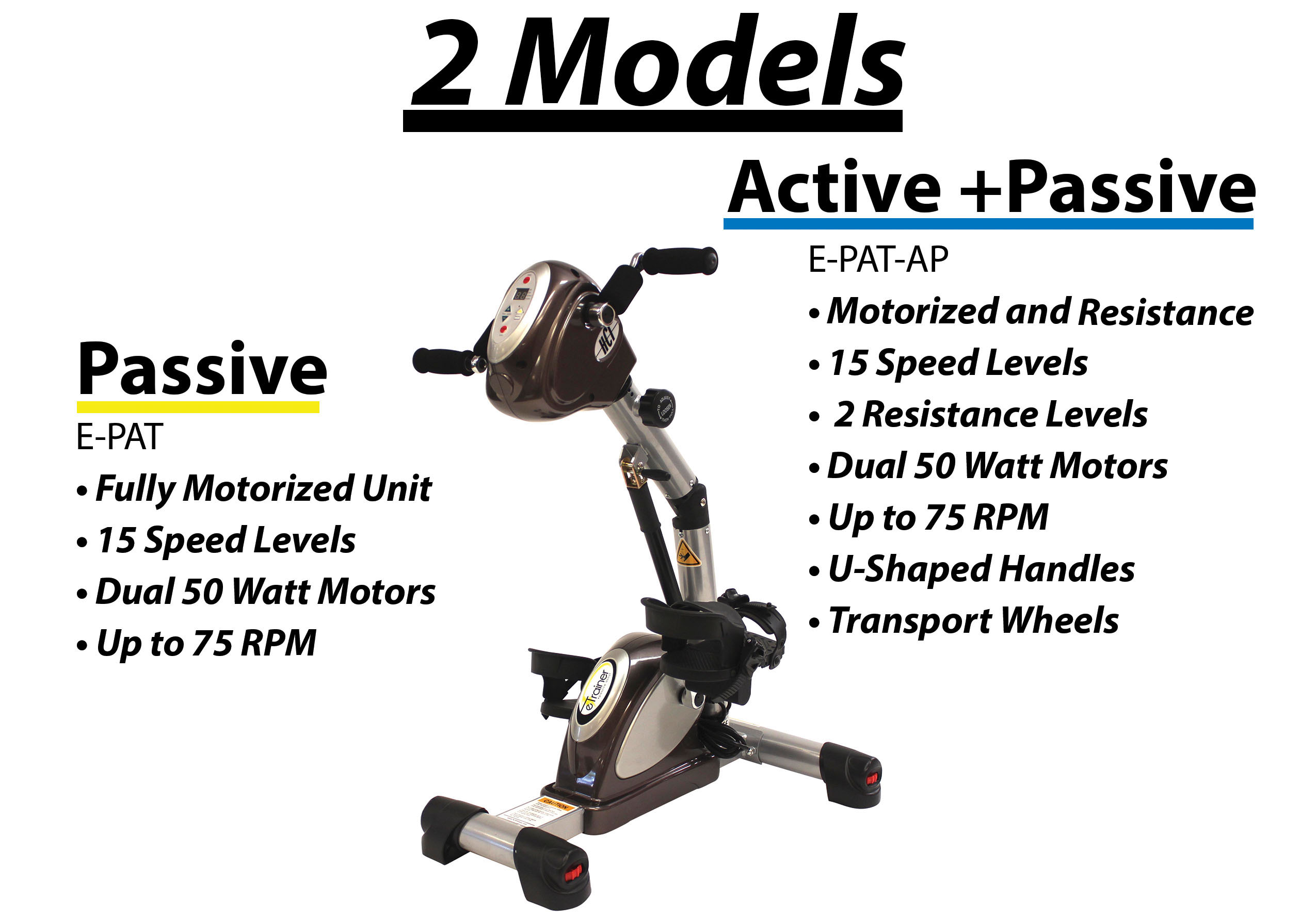 etrainer active and passive trainer at home physical therapy bike